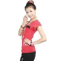 Free Shipping high quality 2013 women's summer tight t-shirt female short-sleeve 100% cotton shirts