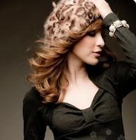 2014 Fashion Autumn and winter leopard print rabbit fur beret painter wool hat warm  women's hat  B155