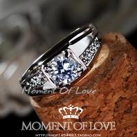 New arrival artificial diamond zircon married male ring nanjie diamond ring r123