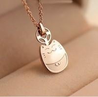 Titanium 14k golden dragon cat lucky cat necklace female short design fashion accessories