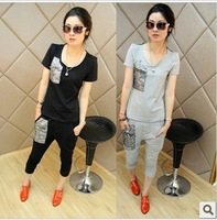3t2 2014  summer spring autumn women girl sports set casual plus size twinset short-sleeve paillette T-shirt + harem pants