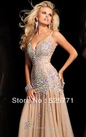 Custom Made New  Long  Hot style Sweetheart Rhinestone Evening Dresses High Quality Sexy Prom Party Gown Free shipping