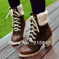 New winter fashion square heel sexy lace Martin boots motorcycle shoes size 34-43 black calf boots USA12