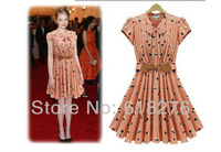 2013 New Fashion  Summer Style Butterfly Sleeve Print with Sash Hemp Blends Cute/ Pleated Dress Wholesale Free shipping YLZ566