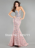 Free shipping Custom Made New Brilliant Strapless Mermaid Beadwork Prom Evening Dresses Sexy Fashion Pageant Formal Party Gown