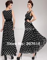 Summer 2013 New Women's Vest Polka Dot Chiffon Long Dress Maxi Dresses Sexy Black Party Evening Dress