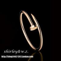 High quality titanium yeh 18k rose gold platinum nail bracelet hand ring fashion