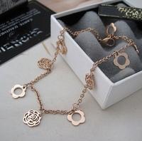 Perfect k gold titanium camellia pendant anklets aesthetic rose gold anklets bracelet