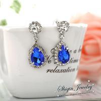 Drop Shipping Fashion Silver Plated Acylic Rhinestone Stud Earrings