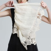 Cutout solid color linen silk scarf female pahone sunscreen long design white air conditioner cape scarf dual