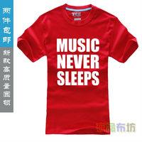 Free shipping 100% cotton short T-shirt top tee music never sleeps logo men tshirts O-neck short STH0006