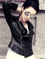 2013 hot sell brand women fashion leather jacket coat    women Slim Fit fashion motorcycle jacket  free shipping!!! S-XL