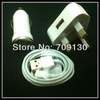 3 in 1 Uk Plug For iPhone 5 ipad mini USB AC Wall Charger+usb car charger + USB Sync Charger
