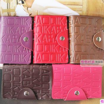 Gift box set print letter cowhide bank card bag male women's multi card holder clip card holder