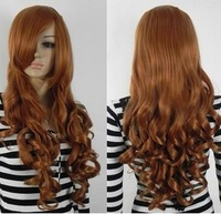 Wholesale Imitation human made Lolita female brown wig long curly hair cosplay