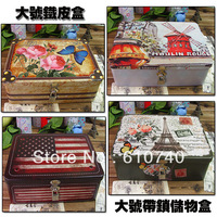 Zakka lockable storage box small iron box lockable Large biscuits candy leather box storage tin