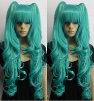 Wholesale Imitation human made V miku magnet gorgeous green wig split type