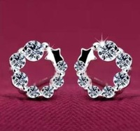 Free shipping 2013 new arrival super shiny zircon 925 silver circle crystal luxury ladies`stud earrings jewelry wholesale