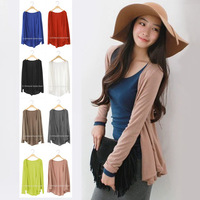 2014 New fashion summer spring autumn casual super-soft 8 colors solid women plus size cotton loose long sleeve cardigan