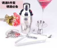 5 Pcs Stainless Steel Cocktail Martini Shaker Mixer Set Bar Party Bartender Kit,high quality ,factory direct sales,