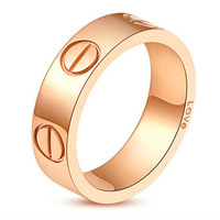 Free Ship! Exquisite Jewelry Rings 18K Rose Gold Plated LOVE Ring Wedding Rings Engagement Rings Without Rhinestone Lovers ring