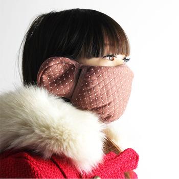 Fashion thickening thermal masks polka dot face masks earmuffs warm winter earmuffs 35g