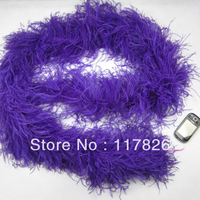 Free Shipping Wholesale 1Pcs a lot  Quality beautiful Purple Ostrich Feather Boa For Stage Perform & Wedding decoration