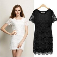 S-XL Free Shipping 2013 New Fashion Summer Dress Women's Wear Lace Embroidery One-piece Dress Mini Casual Dresses  F46