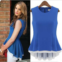 S-XL Free Shipping Manufacturers Supply 2013 New Fashion Shirts For Women Irregular Sleeveless Chiffon Blouse Women's Tops F50