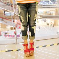 Plus size pants mm summer hole jeans pants wearing white skinny pants