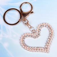 Beautiful small keychain women's bags car accessories pearl diamond love