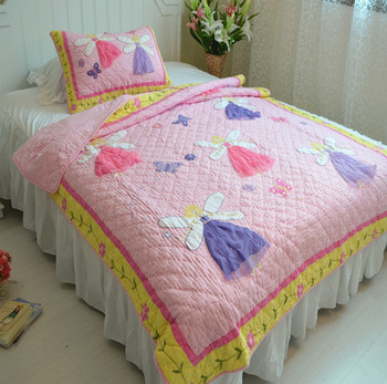Princess wind butterfly cotton quilting 100% handmade by 2 piece set child quilt 100% cotton bed cover