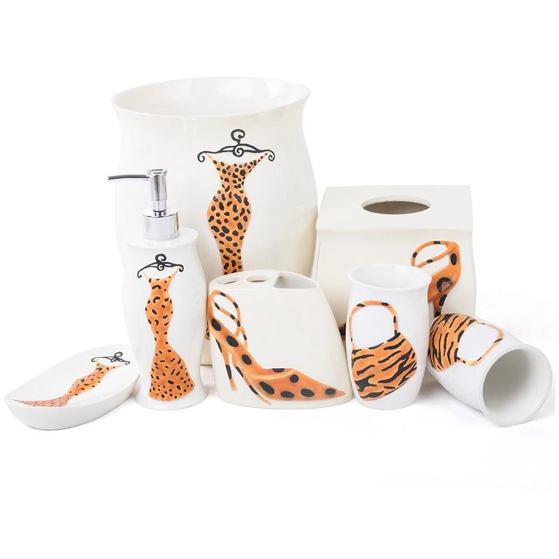image leopard print bathroom accessories set