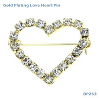 Love Heart Pin Rhinestones Unique Princess Valentine Brooch BP253