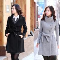 8911 women's slim long-sleeve wool thick woolen overcoat outerwear woolen outerwear 3size Grey Camel Black free shipping