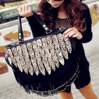 New arrival Leopard print tassel shoulder handbag black rivet bag 2013 women bags designers handbags wholesale