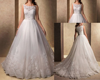 2014 New Arrived A line Ivory Long Train Gown Organza Lace Ziper Back Wedding Dresses WD92020