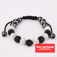 50% Discount Disco Ball Pave Crystal 11PCS Beads Handmade Shamballa Bracelet Free Shipping 5Pcs Wholesale White and Black