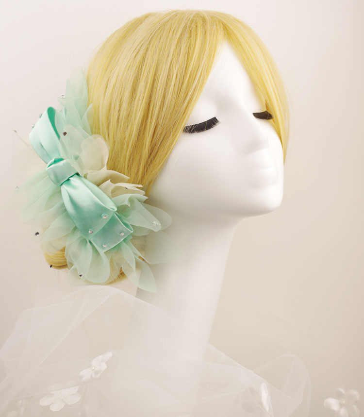 Bridal hairpin flower green light blue formal dress hair accessory corsage neck flower accessories marriage accessories