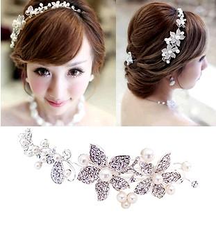 The bride hair accessory pearl soft chain hair accessory white rhinestone flower hair accessory wedding accessories