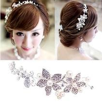 The bride hair accessory pearl soft chain hair accessory white rhinestone flower hair accessory wedding accessories marriage