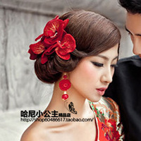 The wedding hair accessory the bride hair accessory rhinestone accessories red dinner party hair