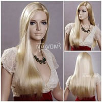 New arrival kanekalon women's straight full wigs/fashion long blonde wigs for women/hot selling affordable synthetic hair wigs