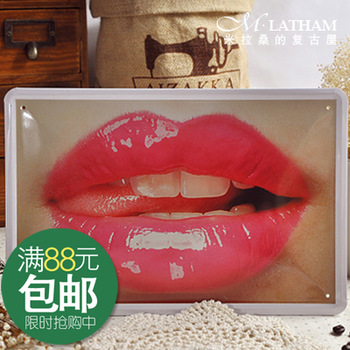Metal painting decoration wall stickers tiepai hot-selling vintage red lips sexy temptation