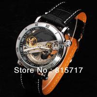 SHENHUA Brand Automatic Mechanical DesignerTransparent Dial Diamond Inlaid Fan-shaped Flywheel Roman Numerals Index Wristwatch