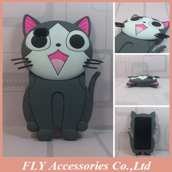 1pcs Free ship! Lovely Cat Skin High Quality Soft Rubber Mobile Phone Back Case For iPhone 4 /4S