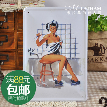 Metal painting fashion bathroom decoration lady 2 vintage bathroom series