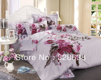Comforter set queen bed peonies print bedclothes 3d white and red blanket quilt+2 pillow covers