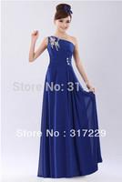 Hot Sale Ladies One-Shoulder Diamond Chiffon Graceful  Long  Bride / Bridesmaids Toast Dress FZ187-2