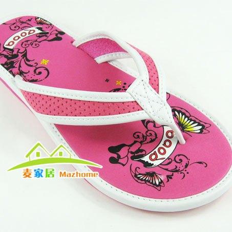 Baofeng boree slippers butterfly small flower Women flat heel flip flops bubble